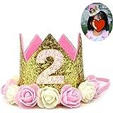 Honbay Baby Girls/Kids Birthday Hat 2nd Birthday Party Headband Baby Princess Tiara Crown with Artificial Rose Flower