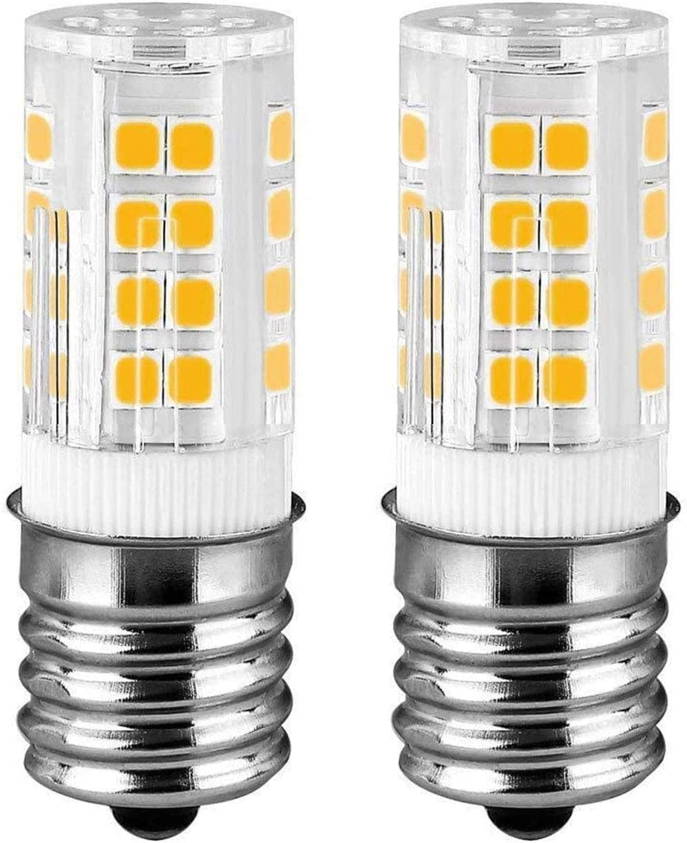 E17 Whirlpoo LED Microwave Oven Bulb, 40W 8206232A Equivalent, AC 110V-130V, Warm White Appliance Bulb (3000K, 2-Pack)