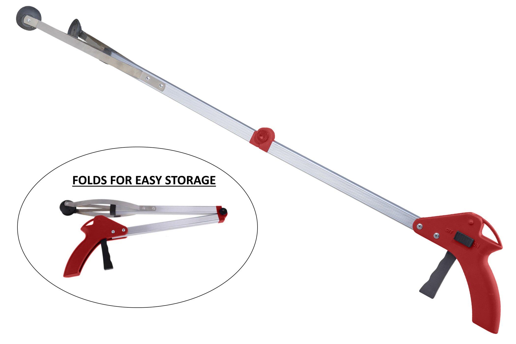 Premium Reacher - Ergonomic Lightweight 32'' Folding Reacher Grabber Tool - Red