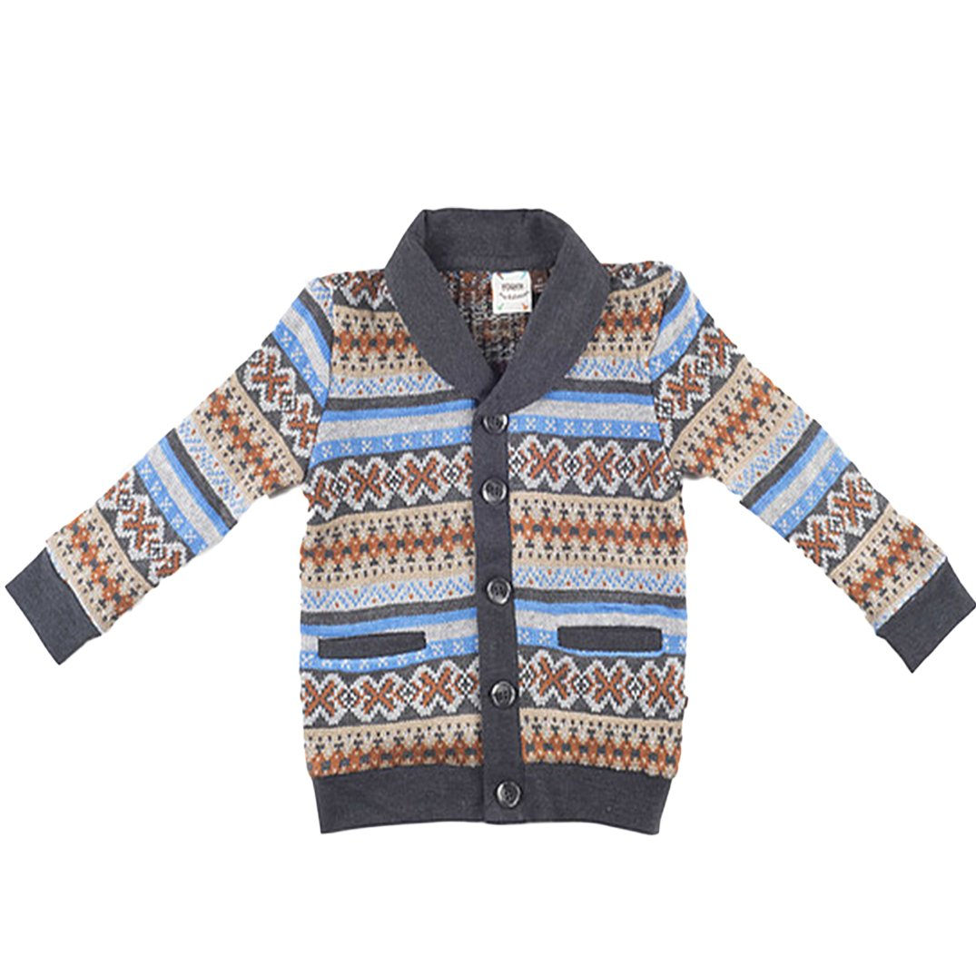 FORE!! Little Boys' Norweigian Cardigan in Multicoloured S(3/4)