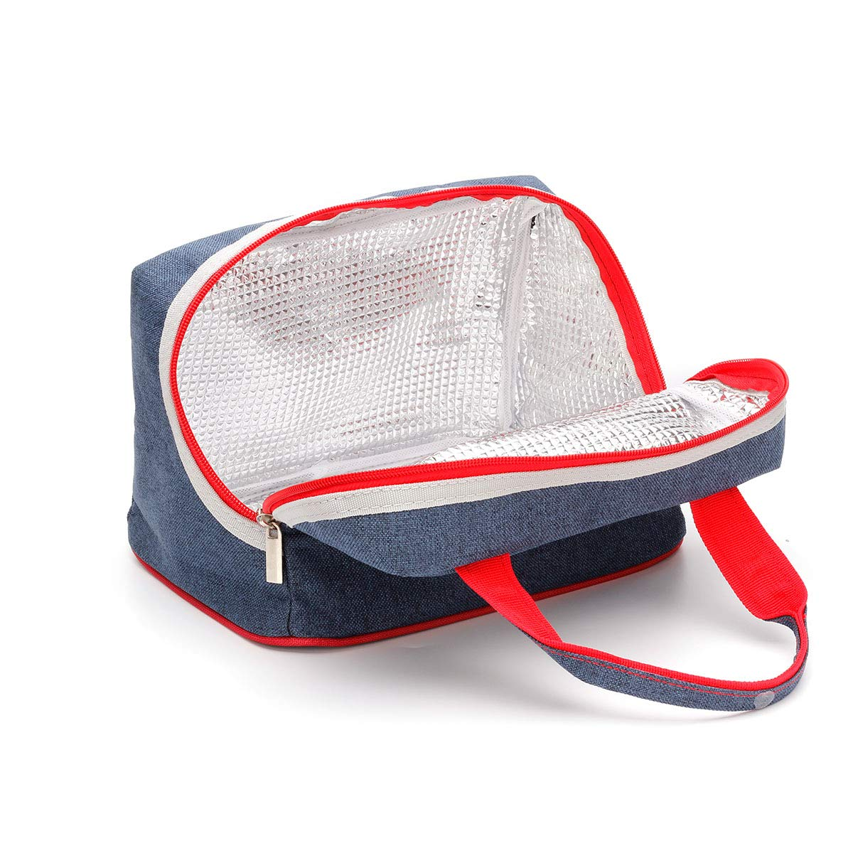 Lunch Bag Insulated Lunch Box Denim Tote Bag Reusable Lunch Containers with Zip Closure Lunch Organizer for Women Men Kids Boys Girls,School Work Office