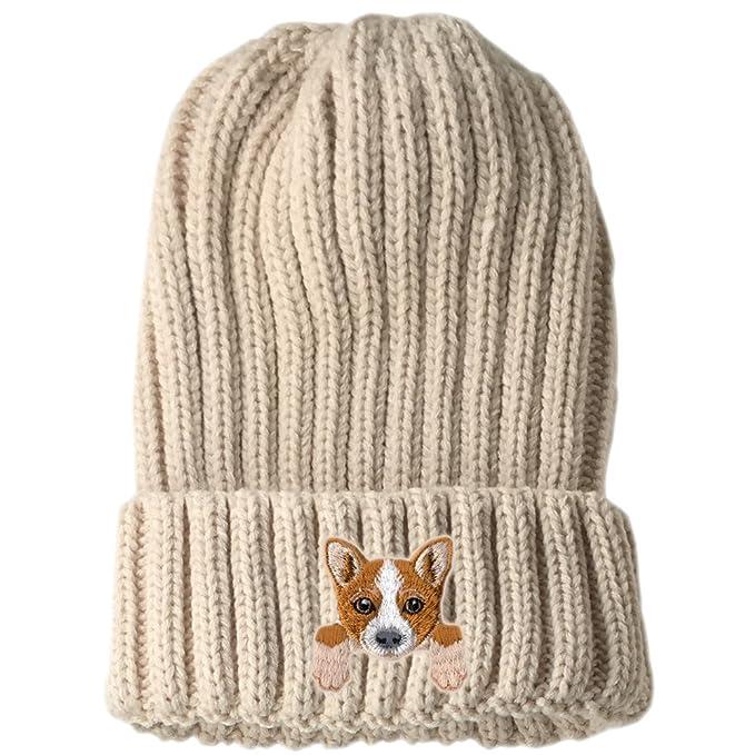 02b187b26d54e [ Welsh Corgi ] Cute Embroidered Puppy Dog Warm Knit Fleece Winter Beanie  Skull Cap