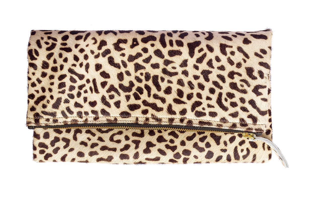 Womens Bags and Purses Leopard Print Haircalf Fold over Clutch One Size Evening Handbag