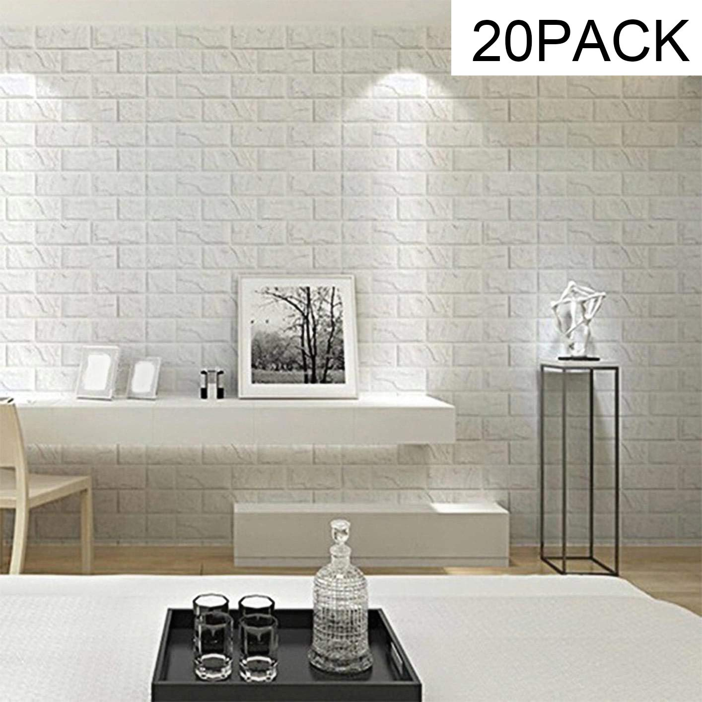 Brick Wallpaper-Masione 3D Wall Panels Peel and Stick Self-Adhesive Real Bricks Effect Wallpapers for Kids Room Bathroom Living Room TV Walls Sofa Background 116.26 sq.ft 20 Packs