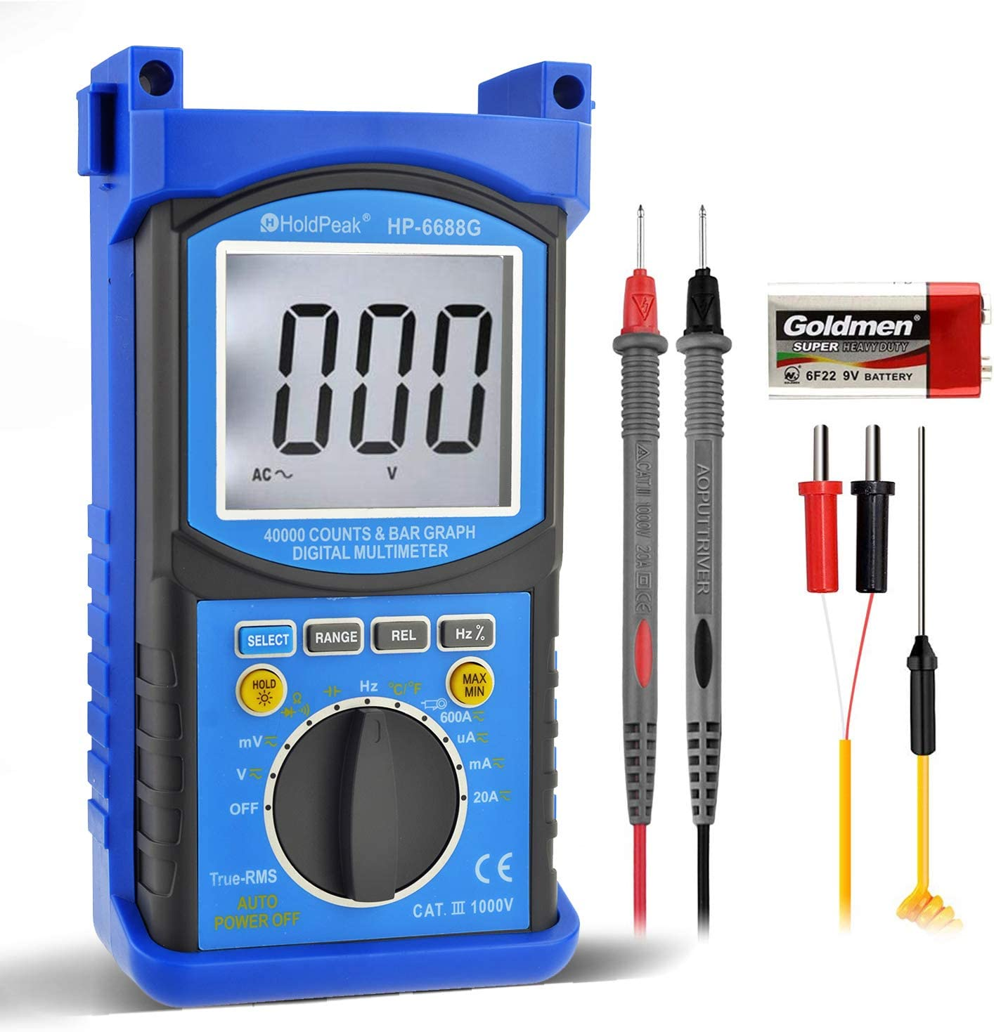 Digital Multimeter-HOLDPEAK 6688G High Precision Pro Multimeter TRMS Auto Ranging Multimeter,40000 counts CATIII 1000V AC/VC Voltage,Current,Ohm,Volt Meter,Diode/Capacitor Temperature test