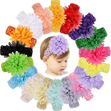 Chiffon Flower Hairband Babies Toddlers Flower Girls Stretchy Soft Material