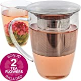 Teabloom Florence Tea Infuser Mug with Lid +2 Blooming Tea Balls - 17 oz Large Glass Mug - Stainless Steel Infuser with Coaster Lid - Durable Thermal Shock Resistant Borosilicate Glass