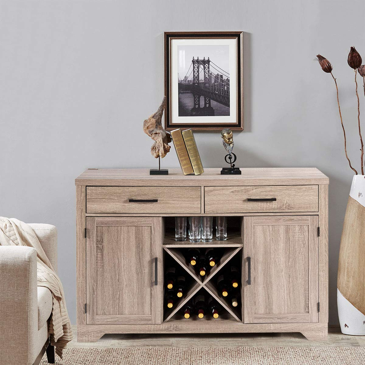 Giantex Buffet Cabinet Sideboard with Two Drawers Two Cabinets One Shelf and 4 Bottle Wine Rack Dining Room Home Furniture Console Storage Cabinet, Natural by Giantex (Image #2)