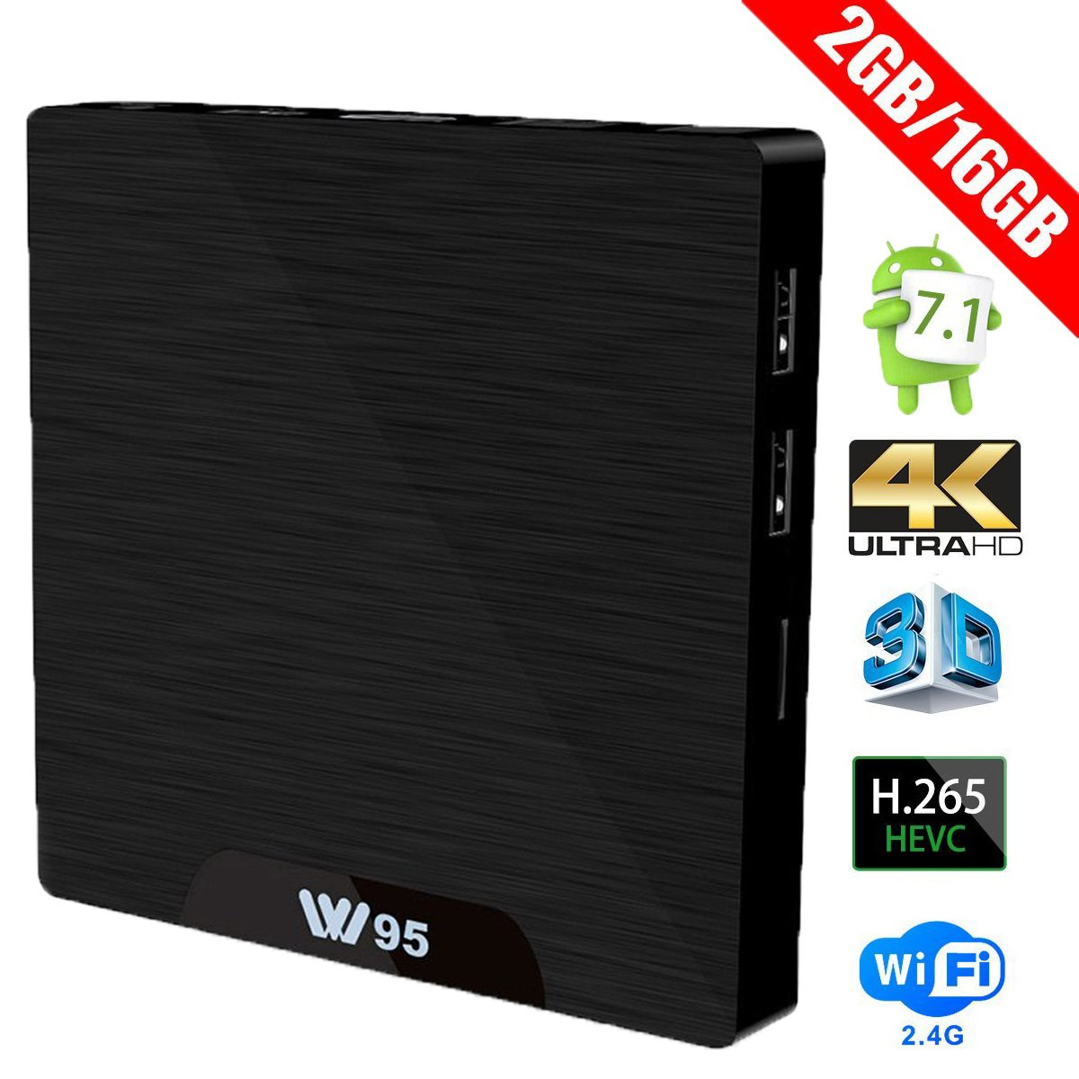 Android 7.1 Smart TV box - W95 2G DDR3 16G eMMC Amlogic S905W Quad Core A53 Processor 2.4G WiFi Internet Set Top Box with HDMI 2.0 4K2K 1080P H.265 AndThere