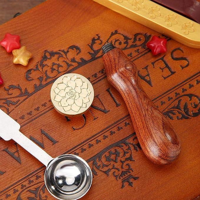 Demiawaking Vintage Timbro Sigillo Ceralacca Modello di Pianta con Manico in Legno Sigillo Ceralacca Matrimonio Dogana DIY Decorazioni per Biglietto dinvito Buste Loto 2