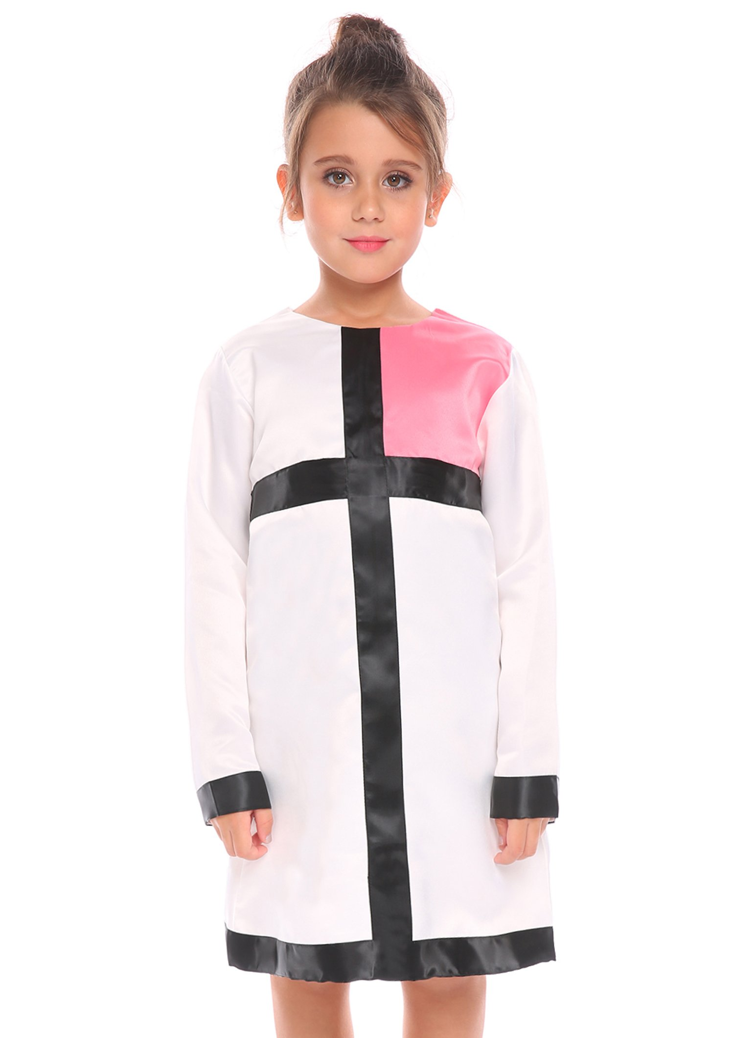 Arshiner Kids Girls Long Sleeve Church Dress Color Block MOD Style Dresses,Pink,130(Age for 8-9 years)
