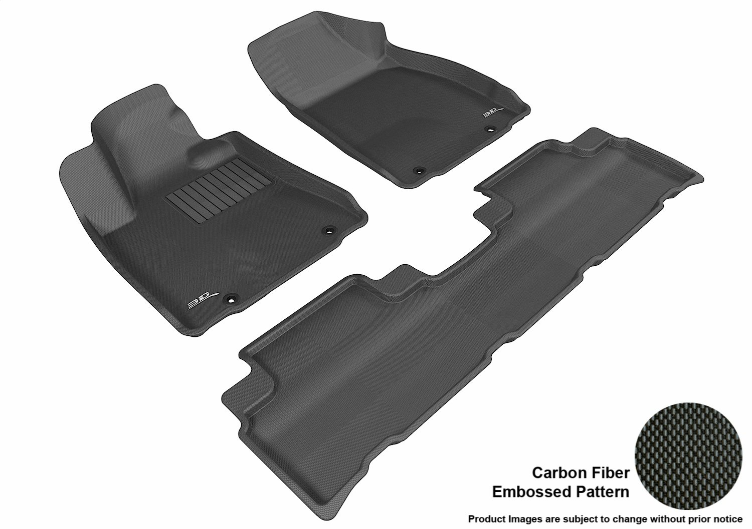 3D MAXpider Complete Set Custom Fit All-Weather Floor Mat for Select Lexus RX350//450H Models Kagu Rubber Black