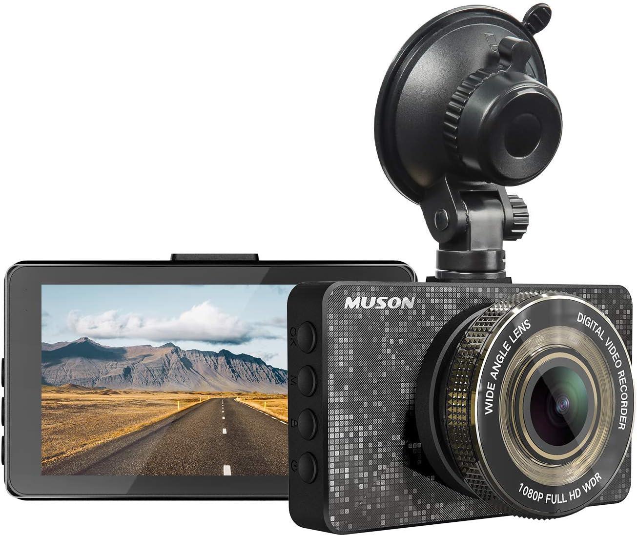Dash Cam MUSON Car Dash Cam 1080P Full HD 3.2-inch Dashboard Camera, Super Night Version with 170° Wide Angle, Loop Recording, G-Sensor Protection Dash Camera for Car, WDR, Parking Guard Car Camera