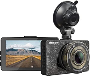 Dash Cam MUSON Car Dash Cam 1080P Full HD 3.2-inch Dashboard Camera, Super Night Version with 170° Wide Angle, Loop Recording, G-Sensor Protection Dash Camera for Car, WDR, Parking Guard Car Camera