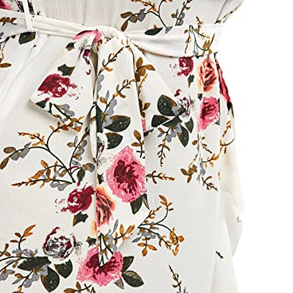 90dee58720015 Hannea Plus Size Tiny Floral Overlap Flounced Flowy Beach Dress  Amazon.in   Clothing   Accessories