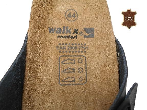 WALKX Herren Confort Bio Clogs Tieffußbett Pantoletten Sandalen Schlappen Hausschuhe Echtes Leder Schwarz Gr.41 42 43 44 45