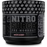 NITROSURGE Black Pre Workout Supplement - Nootropic Energy Booster Powder w/Dynamine & TeaCrine - PreWorkout Nitric…