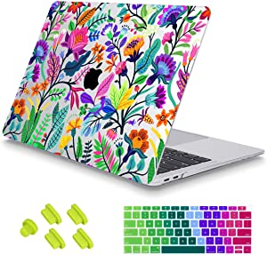 May Chen MacBook Air 13 Inch Case 2018 2019 2020 Release A1932 A2179,Floral Leaves Garden Rainbow Crystal Clear Hard Shell Only Compatible for New MacBook Air 13 & Retina Dispaly Touch ID