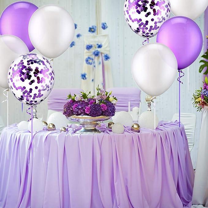 QYY 30 Piezas 12 Pulgadas de Globos de Látex Globos con Confeti para Decoración de Fiesta de Boda Cumpleaños (Blanco y Morado)