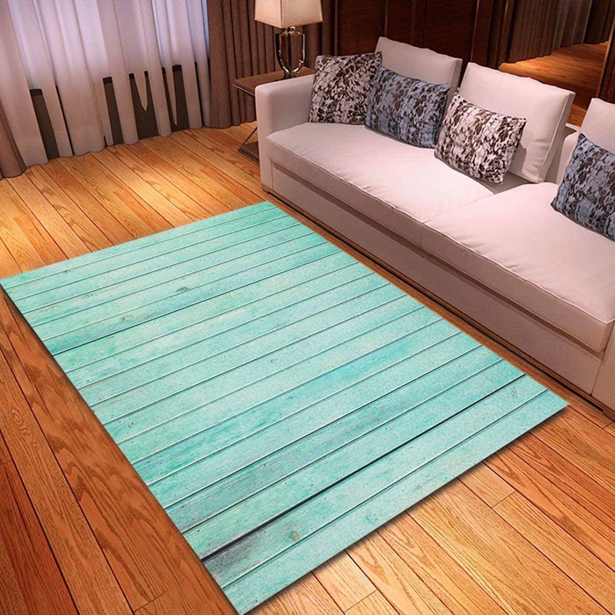 rouihot Non-Slip Area Rug 3'x 5' Green Wall Mint Painted Wood Panels Color Aqua Pastel Rugs Carpet for Classroom Living Room Bedroom Dining Kindergarten Room