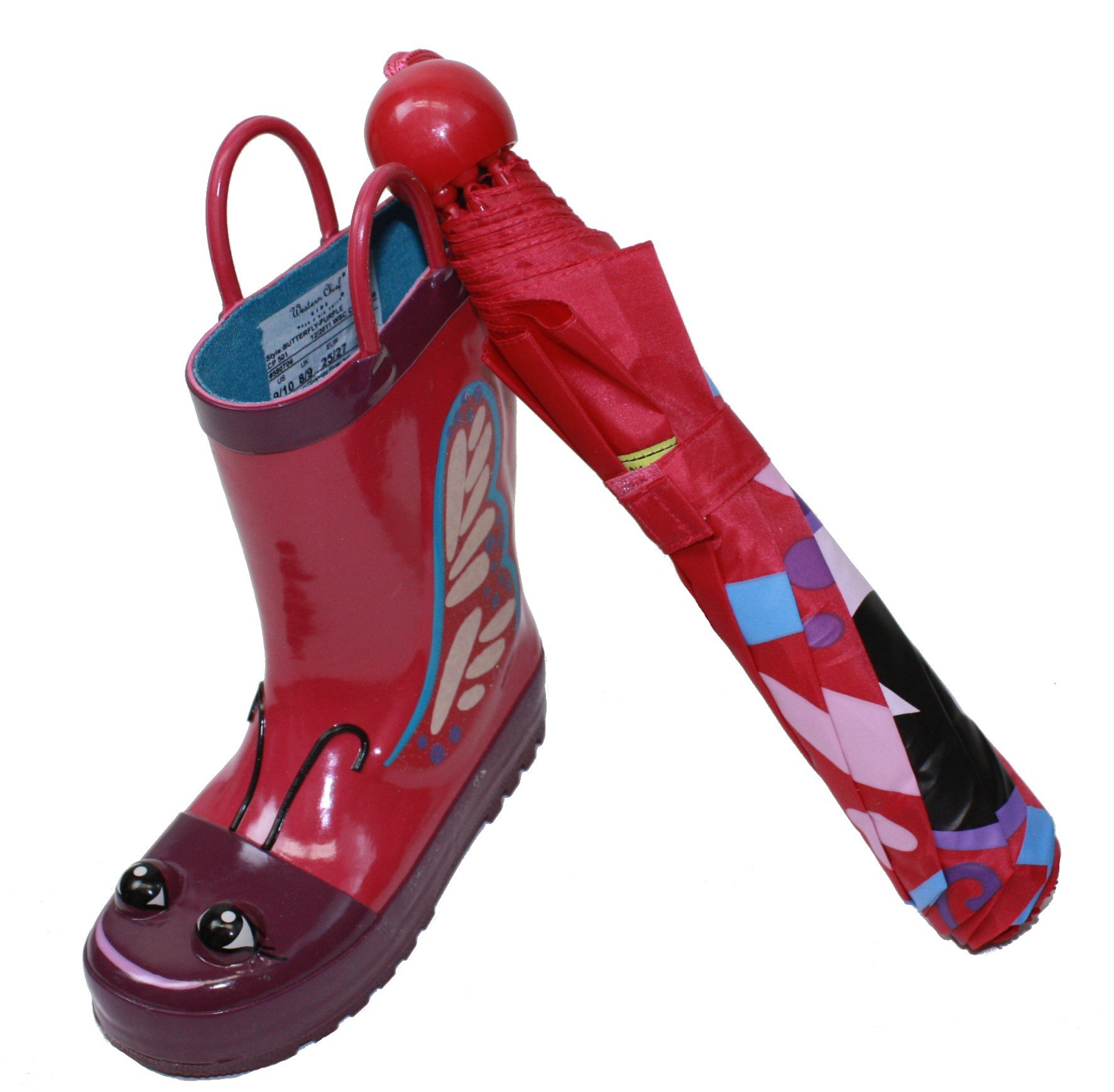 Western Chief Kids Butterfly Rain Boot & Umbrella Set (7/8)