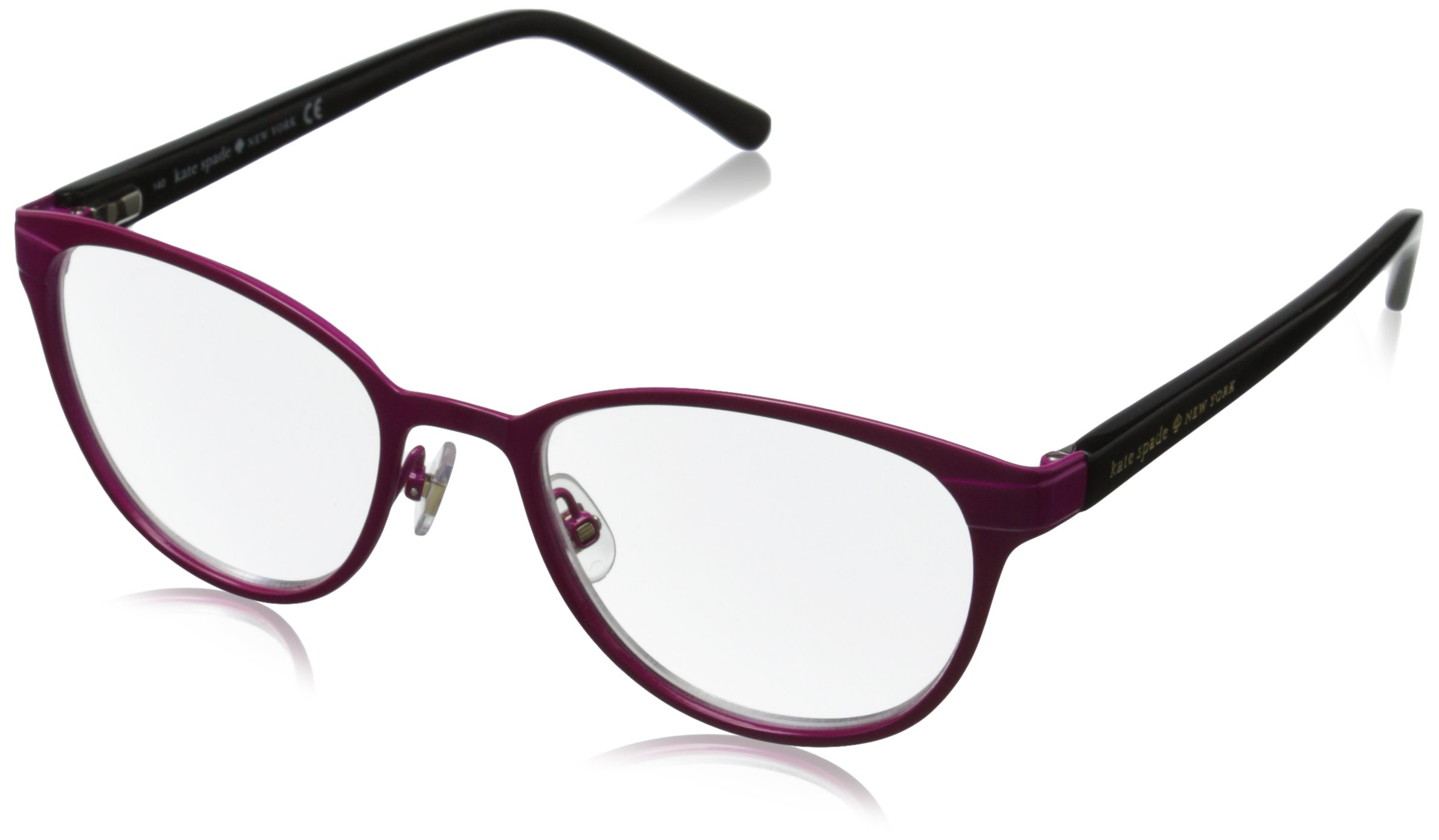 Kate Spade Women's Ebba Oval Reading Glasses, Pink Black 2.5 & Clear, 2.5