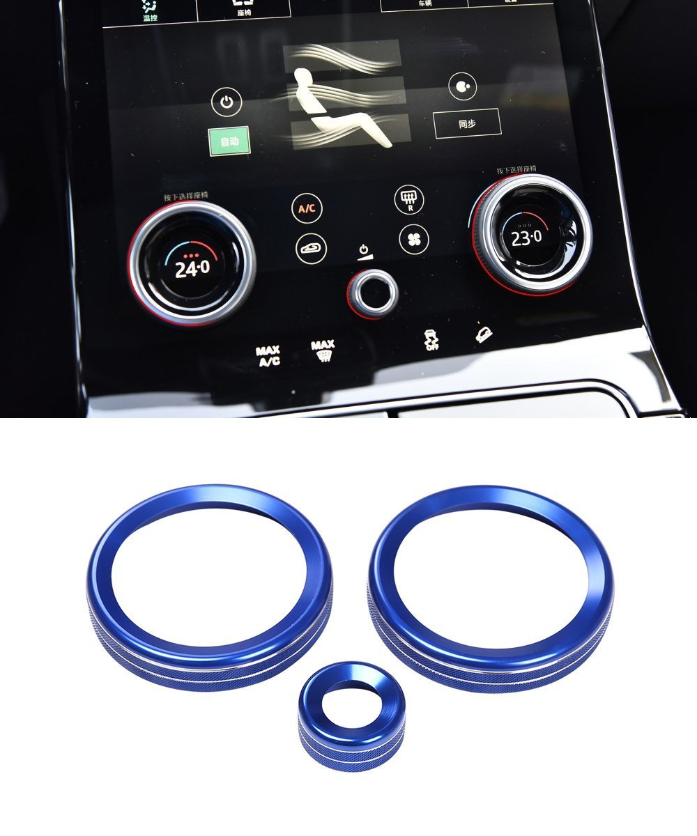 Aluminum alloy Central Air Conditioning Volume knobs Ring Trim For Land Rover Range Rover VELAR 2017 (blue)