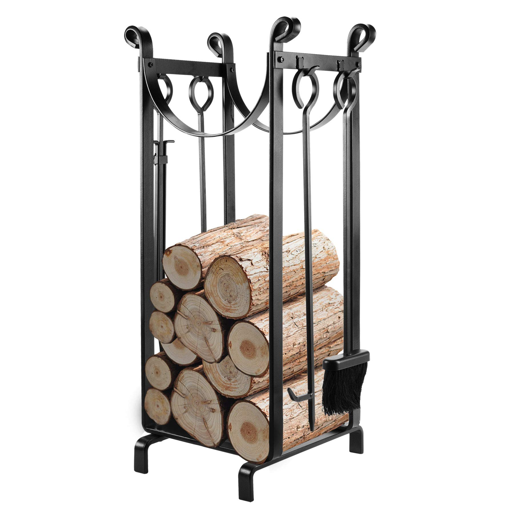 Pinty Sling Log Rack with Fireplace Tools, Hammered Steel, Including Rack, Brush, Shovel, Tong and Fireplace Hook by Pinty