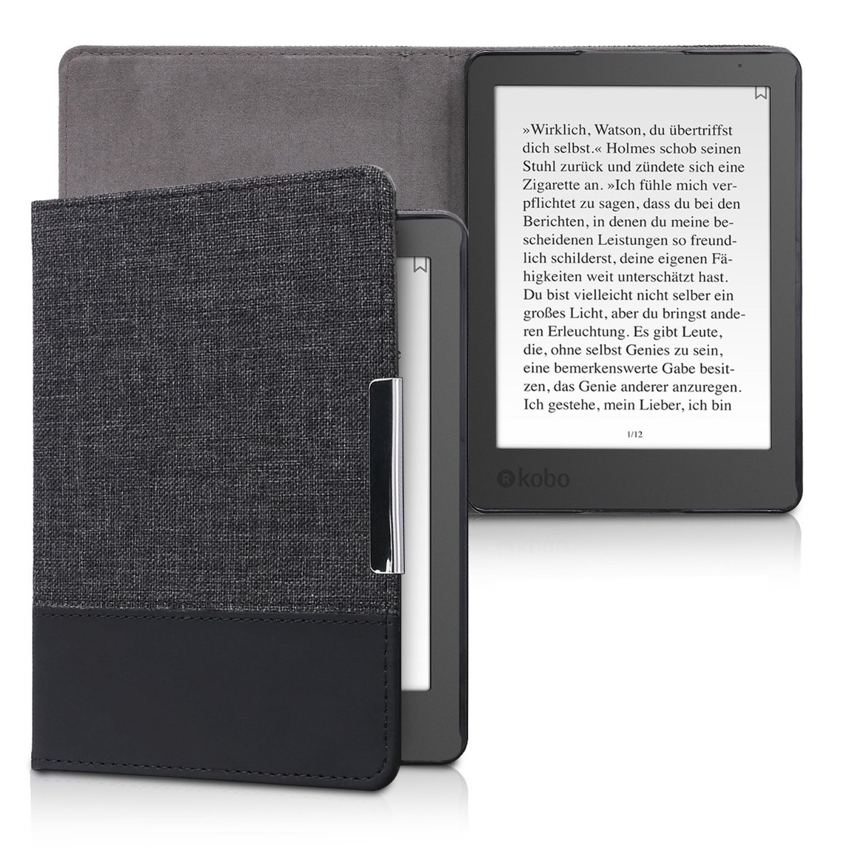 kwmobile Case for Kobo Aura Edition 2 - PU Leather and Canvas Protective e-Reader Cover Folio Case - anthracite black