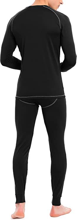 DAVID ARCHY Mens Thermal Underwear Ultra Soft Brushed Thermal Top and Bottom Long Johns Set Quick Dry Base Layer