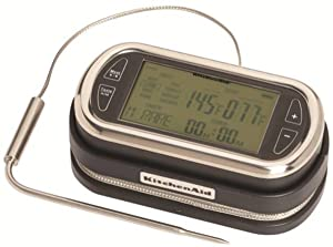 KitchenAid KN128OB Portable Wireless Remote LED Digital Probe Thermometer with Timer for Oven, Grill and Smoker Use 5-Inch Black