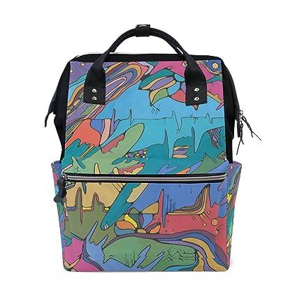 coosun colorido pintura arte abstracto muti-Function – Bolso mochila de gran capacidad mochila de