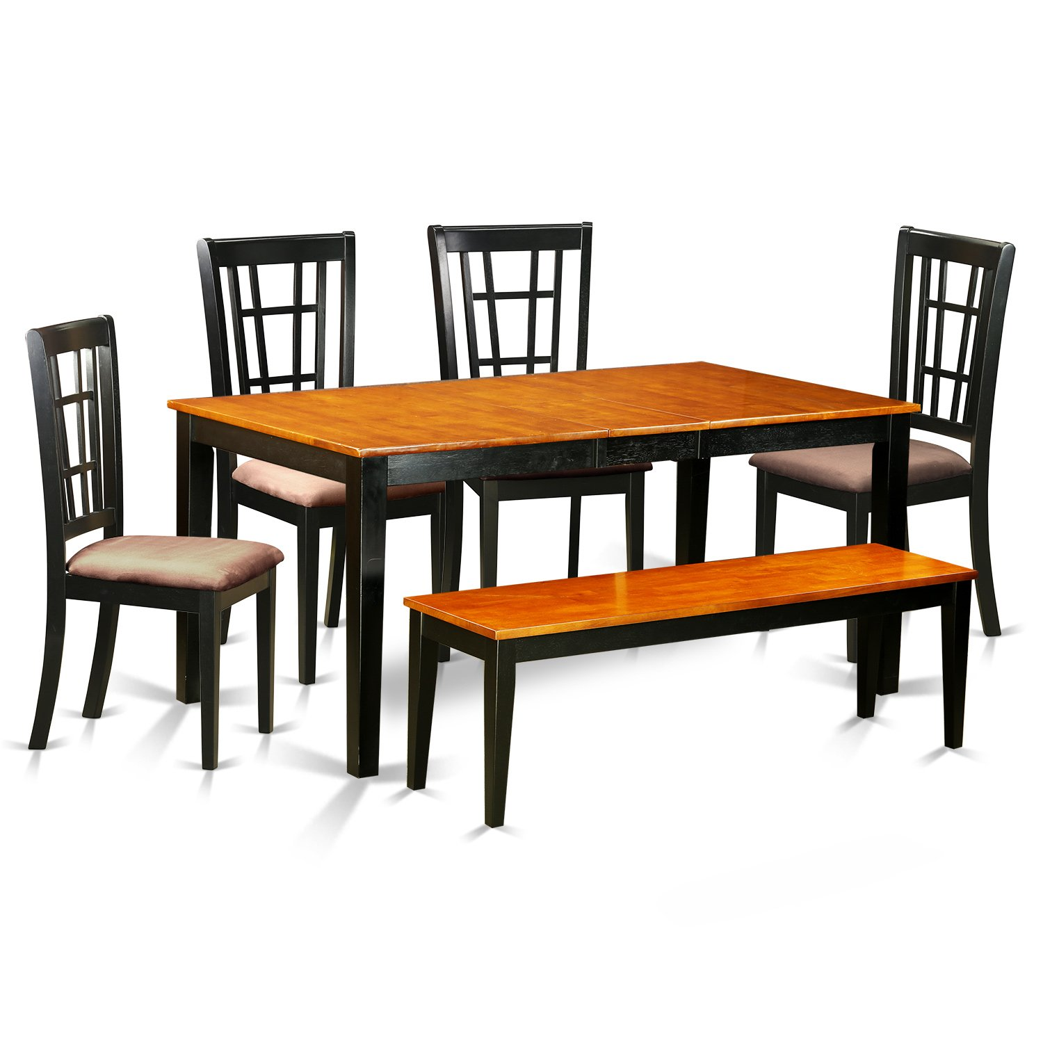 Amazon com east west furniture nico6 blk c 6 piece black dining table and 4 chairs plus one bench set kitchen dining