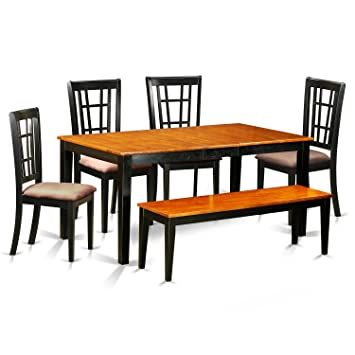 Terrific East West Furniture Nico6 Blk C 6 Piece Black Dining Table And 4 Chairs Plus One Bench Set Gmtry Best Dining Table And Chair Ideas Images Gmtryco