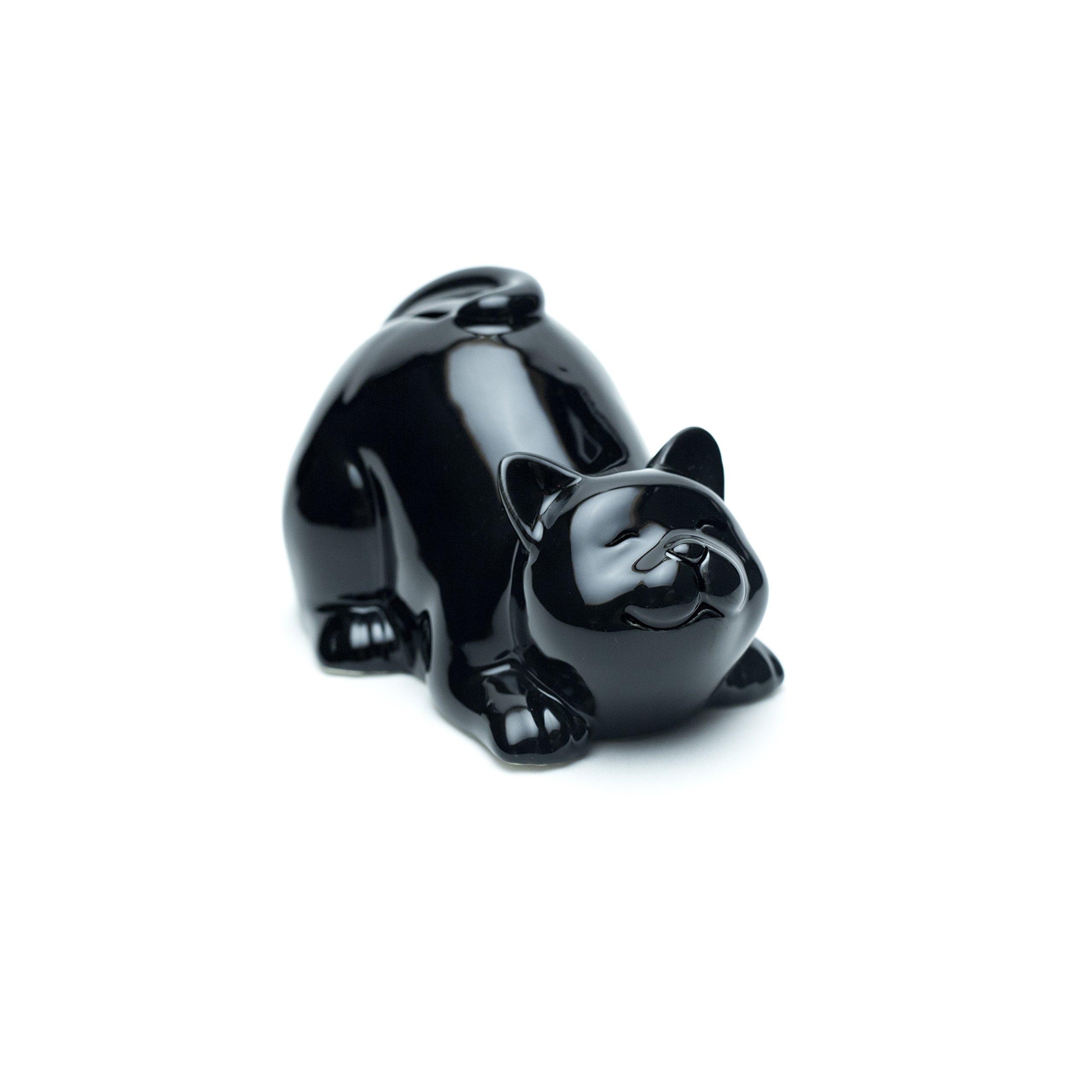 Emin Decor Ceramic Happy Cat Piggy, Coin Bank (Lying, Black)