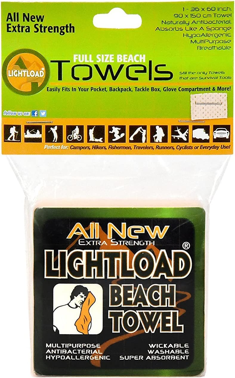 Lightload Towels Large Non Micro Fiber Compressed Beach Swim Towel X Strong Packs in Your Pocket Quick Dry Super Absorbent Breathable Camp Backpack Travel Gym 5oz 1 Pack 36x60
