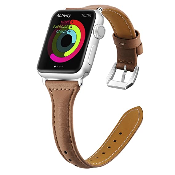 7f04c9b994 Genuine Leather for Apple Watch Band 38mm 40mm Slim Replacement Wristband  Sport Strap for Iwatch Series 4 3 2 1, Edition, Nike+,with Stainless Steel  ...