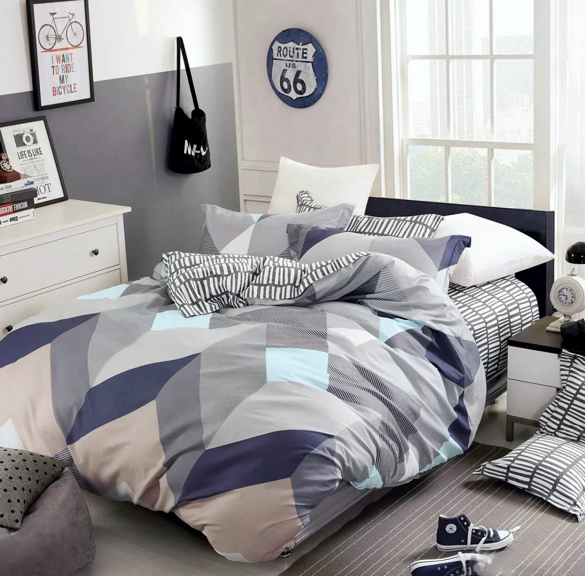 Eikei Home Minimal Style Geometric Shapes Duvet Quilt Cover Modern Scandinavian Design Bedding Set 100 Percent Cotton Soft Casual Reversible Block Print Triangle Pattern Queen Mauve Sky Home Kitchen