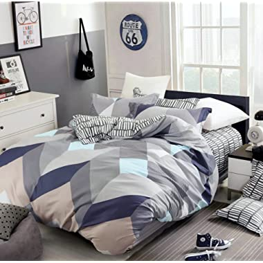 Eikei Home Minimal Style Geometric Shapes Duvet Quilt Cover Modern Scandinavian Design Bedding Set 100-percent Cotton Soft Casual Reversible Block Print Triangle Pattern (Queen, Mauve Sky)