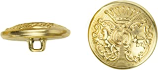 product image for C&C Metal Products 5023 7 Point Crown Metal Button, Size 24 Ligne, Gold, 72-Pack