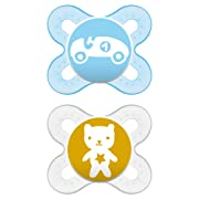 MAM Pacifiers, Newborn Pacifier, Best Pacifier for Breastfed Babies, 'Start Tender' Design Collection, Boy, 2-Count