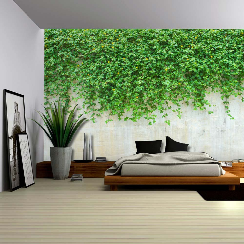 Green Vines Dropping to a Cement Wall Wall Mural Removable Wallpaper