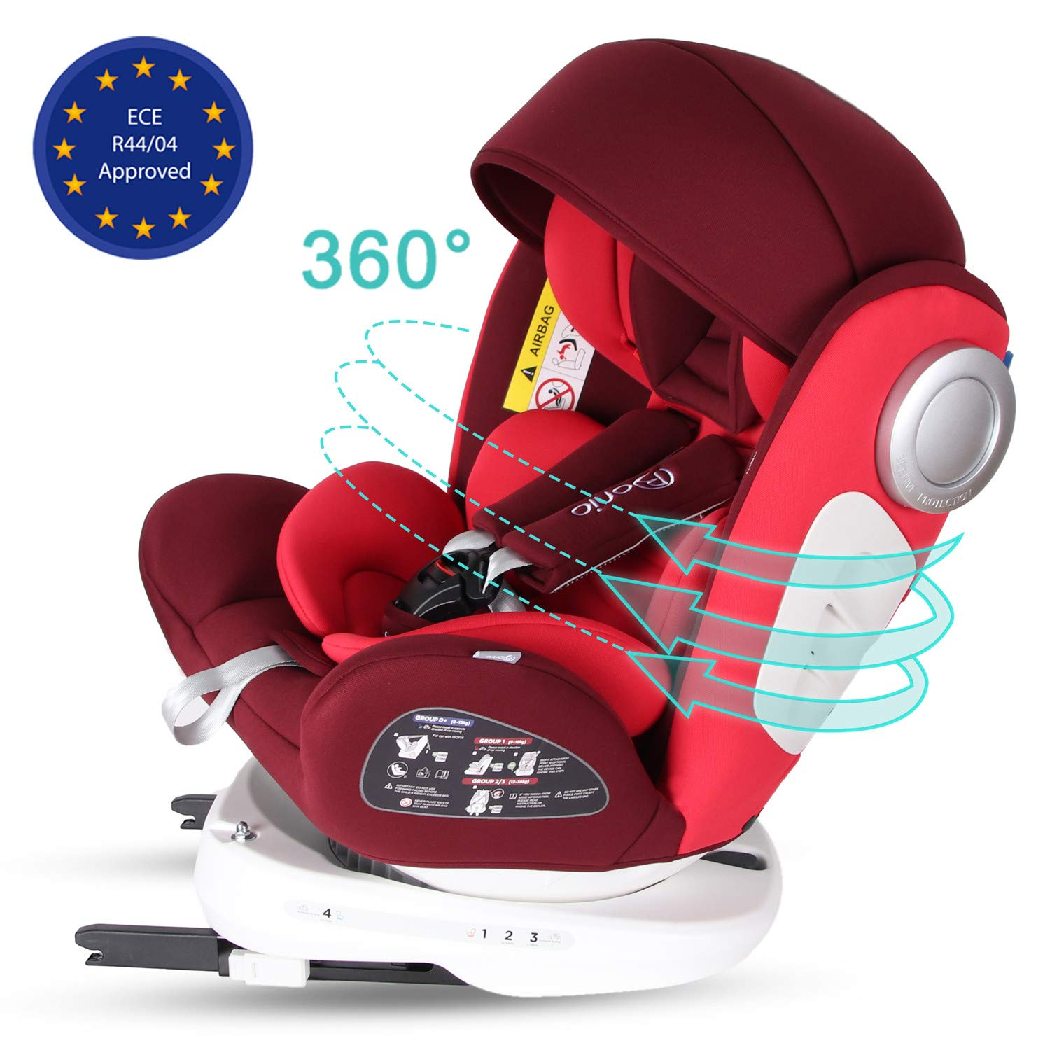 with ISOFIX /& Top Tether Black Bonio Baby Car Seat 360/° Rotating Group 0+//1//2//3 0-12 years