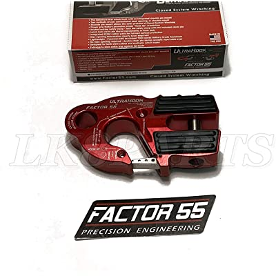 Factor 55 UltraHook Winch Hook with Shackle Mount - Red: Automotive