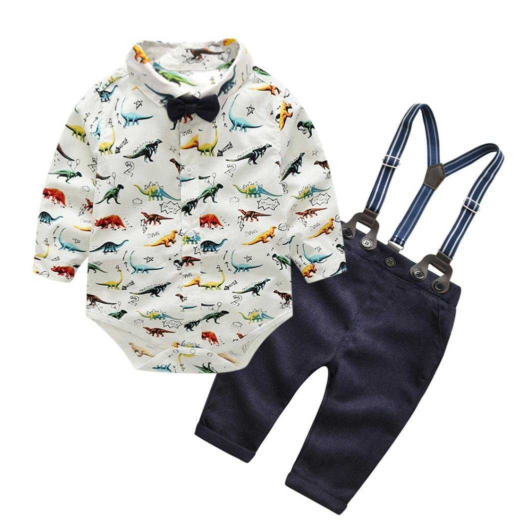 Little Boy Gentleman Fall Sets,Jchen(TM) Hot Sales! Toddler Baby Boys Dinosaur Gentleman Bowtie Shirt Romper+Suspenders Pants Outfits for 0-3 Years Old (Age: 6-12 Months)