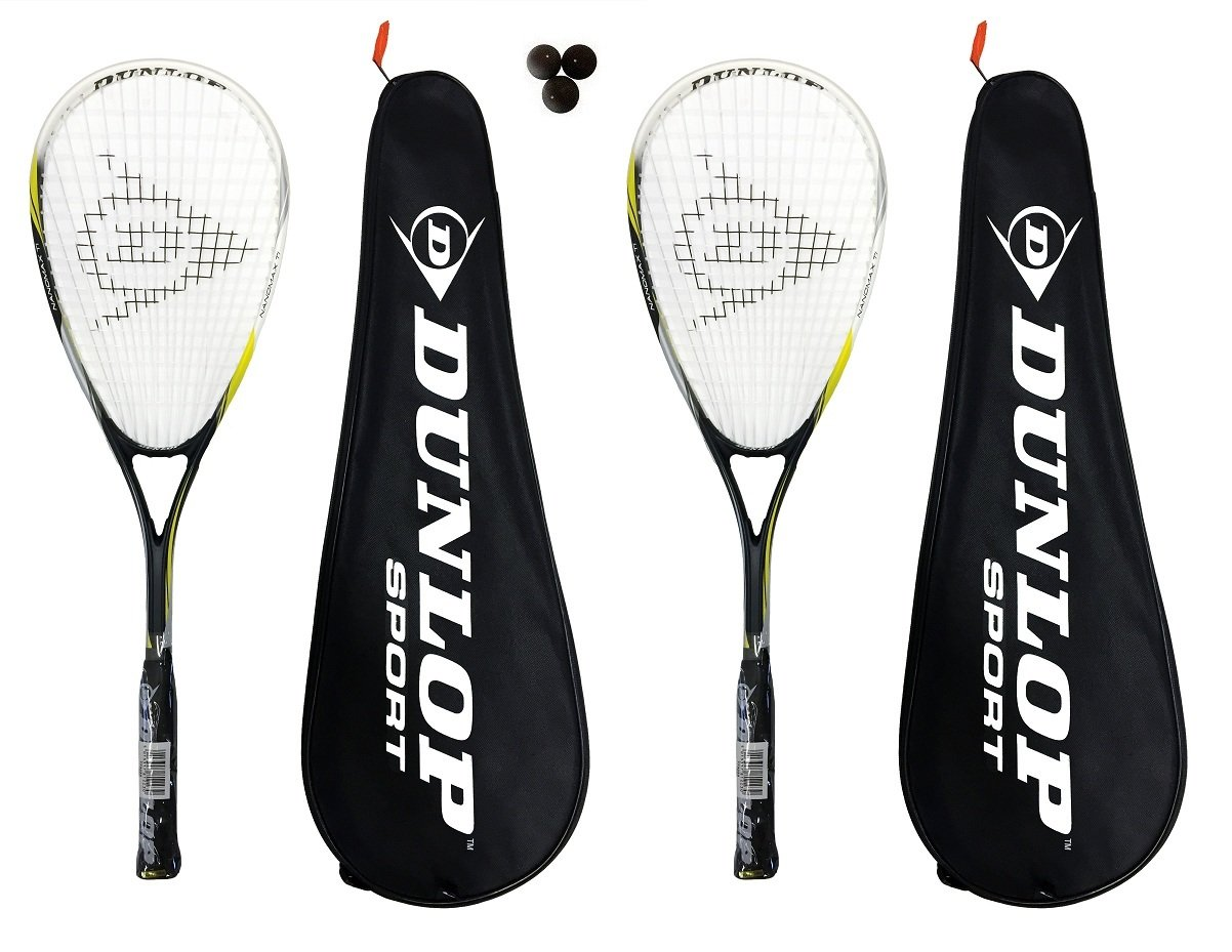 2 x Dunlop Nanomax Ti Squash Rackets + 3 Squash Balls and Covers