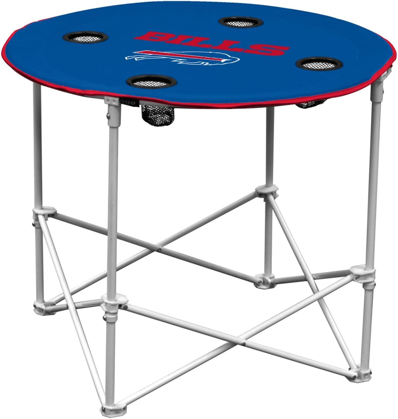 Buffalo Bills  Collapsible Round Table with 4 Cup Holders and Carry Bag Multi