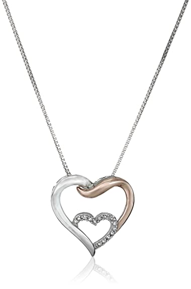 80e736bc2 Sterling Silver and 14k Rose Gold Interlocking Heart with Diamond Accent  Pendant Necklace, 18""