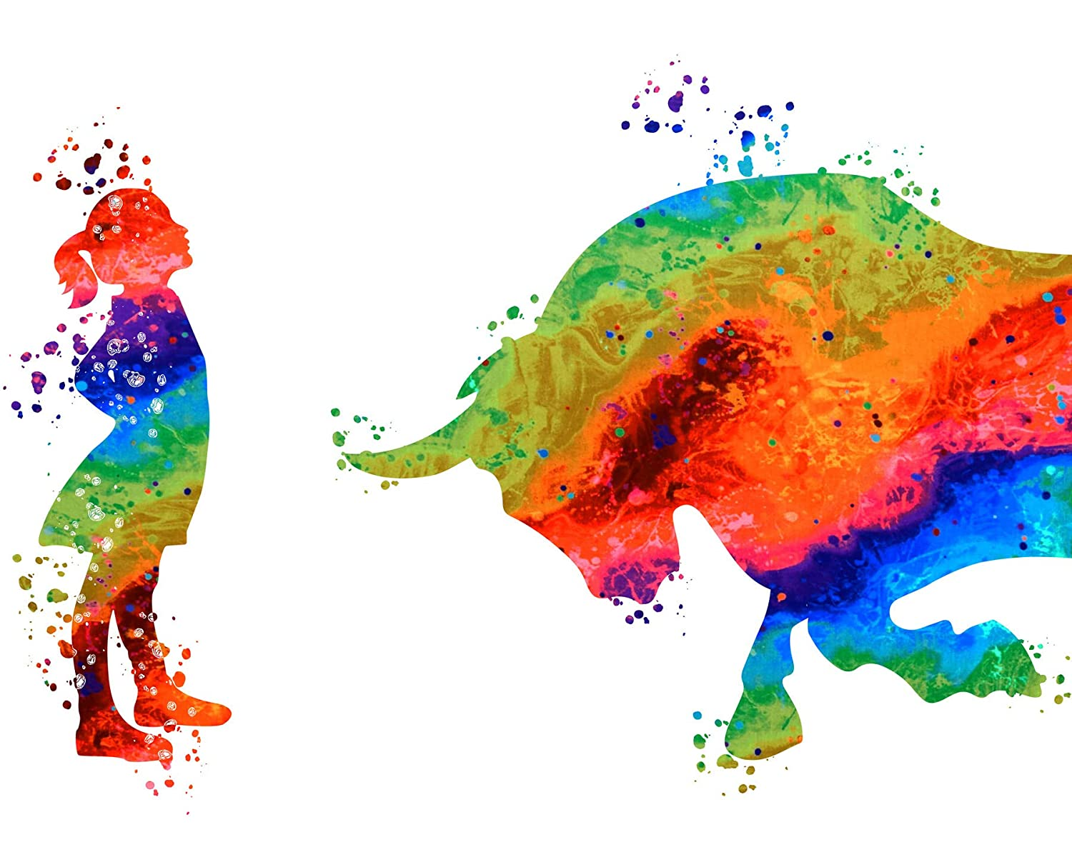 Charging Bull Fearless-Girl Power Decor - Motivational Water Color Wall Art Print - Fearless Girl and Bull Statue Wall Print - Gift for her…