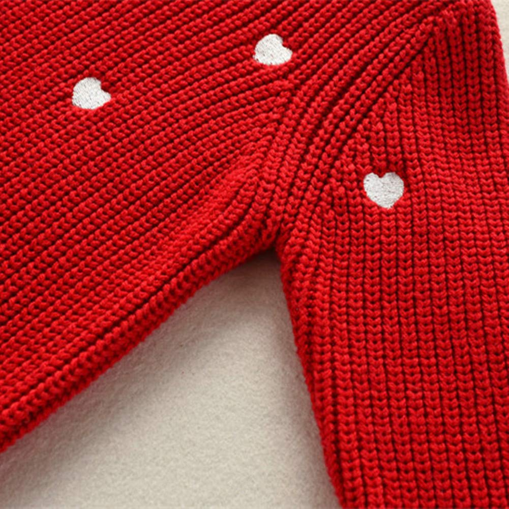 Christmas Girls Sweater White Red Heart Pattern Knit Clothes For Toddler Kids Girl Autumn Cotton Warm Winter Sweaters